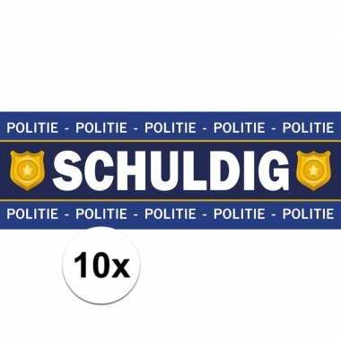 10 x schuldig stickers voor politie agent foute kleding