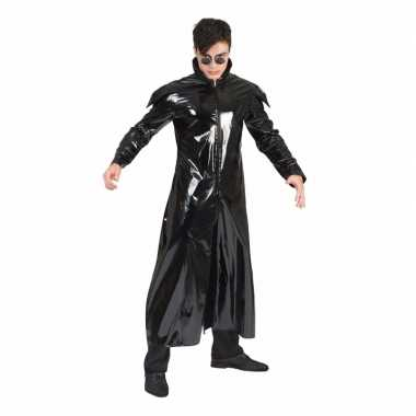 90s foute kleding gothic lakleren jas voor volwassenen