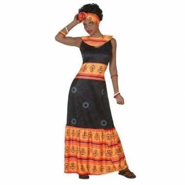 Afrikaanse jurk foute kleding zwart/oranje voor dames