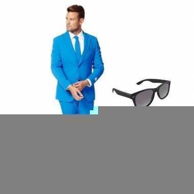 Blauw heren foute kleding maat 46 (s) met gratis zonnebril