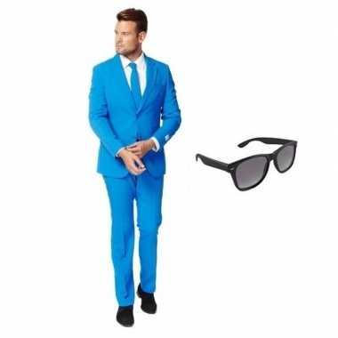 Blauw heren foute kleding maat 58 (4xl) met gratis zonnebril