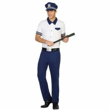 Blauw/wit politie pak/foute kleding voor heren