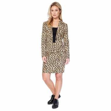 Bruin dames foute kleding met luipaard print