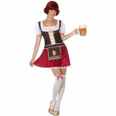 Bruine/rode tiroler dirndl foute kleding/jurkje voor dames