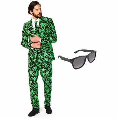 Cannabis print heren foute kleding maat 54 (xxl) met gratis zonnebri