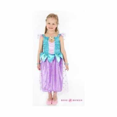 Carnaval foute kleding prinses blauw/paars meisjes