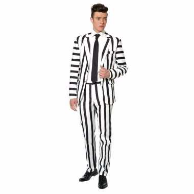 Carnavals foute kleding heren zwart wit gestreept