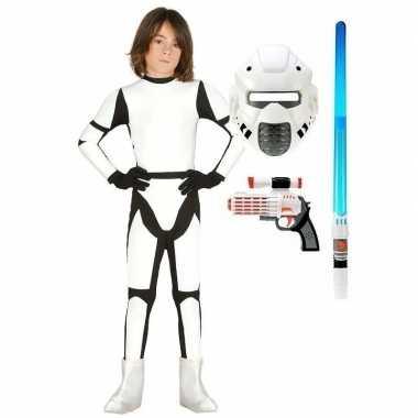 Compleet space trooper foute kleding maat 122 134 voor kinderen