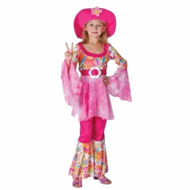 Complete roze hippie foute kleding voor meiden