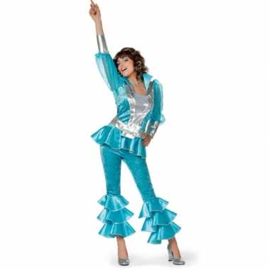 Dames disco foute kleding blauw/zilver