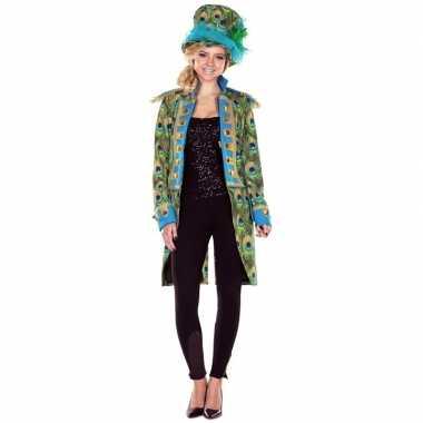 Dames pauwenprint foute kleding jas