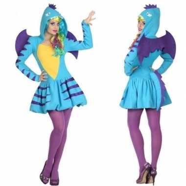 Dierenpak blauwe draak foute kleding/jurk voor dames