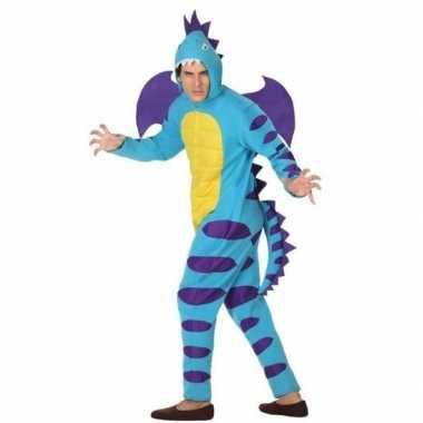 Dierenpak blauwe draak foute kleding voor volwassenen