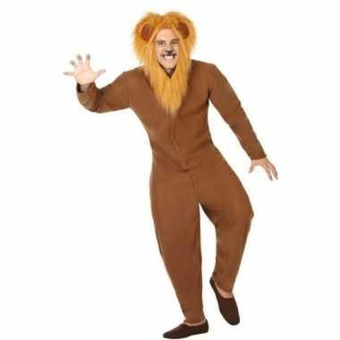 Dierenpak foute kleding bruine leeuw voor volwassenen
