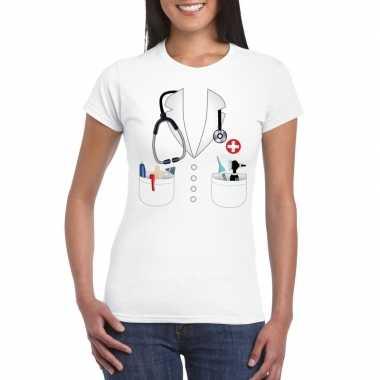 Doktersjas foute kleding t shirt wit voor dames