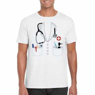 Doktersjas foute kleding t shirt wit voor heren