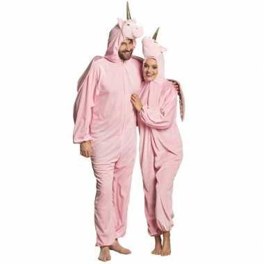 Eenhoorn dieren onesie/foute kleding voor volwassenen roze