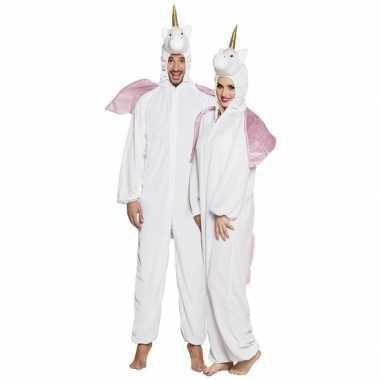 Eenhoorn dieren onesie/foute kleding voor volwassenen wit