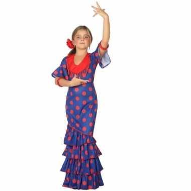 Flamenco danseres foute kleding blauw met rood