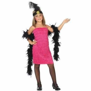 Flapper franje foute kleding/jurkje roze voor meisjes
