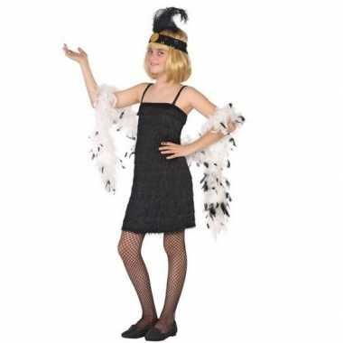 Flapper franje foute kleding/jurkje zwart voor meisjes