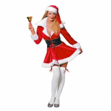 Fluwelen kerstvrouw foute kleding