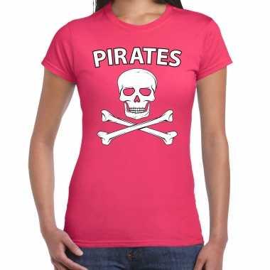 Fout piraten shirt / foute party shirt roze dames kleding