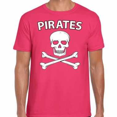 Fout piraten shirt / foute party shirt roze heren kleding