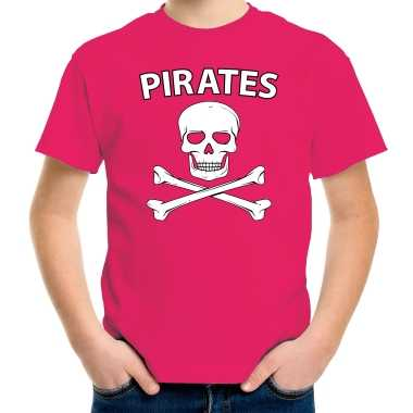 Fout piraten shirt / foute party shirt roze voor kids kleding