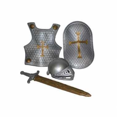 Foute 4 delige ridder set zilver kleding