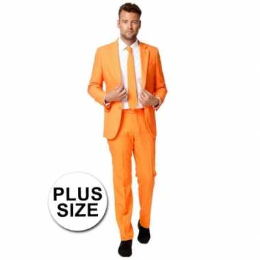 Foute big size business pak oranje kleding