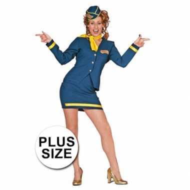 Foute big size stewardessjurkje blauw kleding