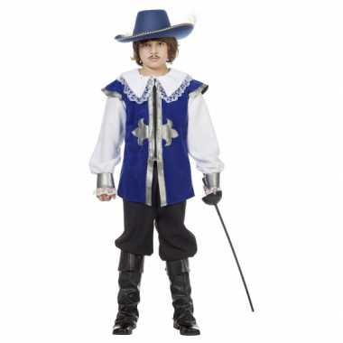 Foute blauw musketier pak voor kinderen kleding