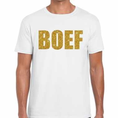 Foute boef glitter goud tekst t shirt wit heren kleding
