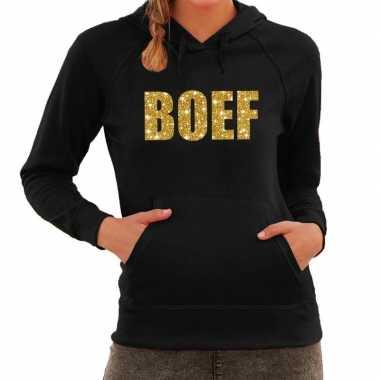 Foute boef goud glitter tekst hoodie zwart dames kleding