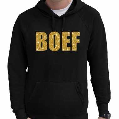 Foute boef goud glitter tekst hoodie zwart voor heren kleding
