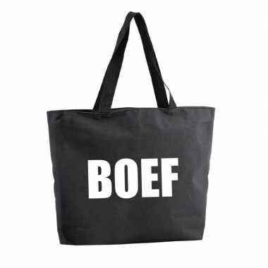 Foute boef shopper tas zwart 47 cm kleding