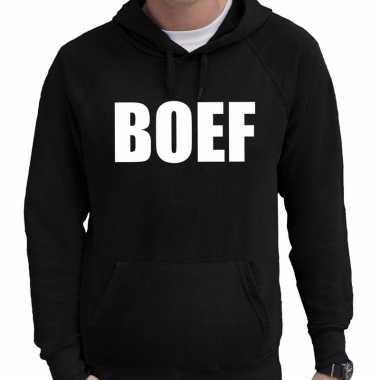Foute boef tekst hoodie zwart voor heren kleding