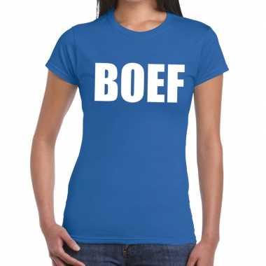 Foute boef tekst t shirt blauw dames kleding