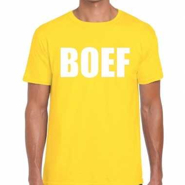 Foute boef tekst t shirt geel heren kleding