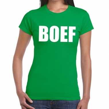 Foute boef tekst t shirt groen dames kleding