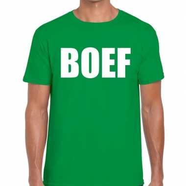 Foute boef tekst t shirt groen heren kleding