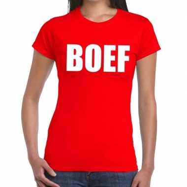 Foute boef tekst t shirt rood dames kleding
