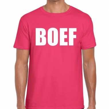 Foute boef tekst t shirt roze heren kleding