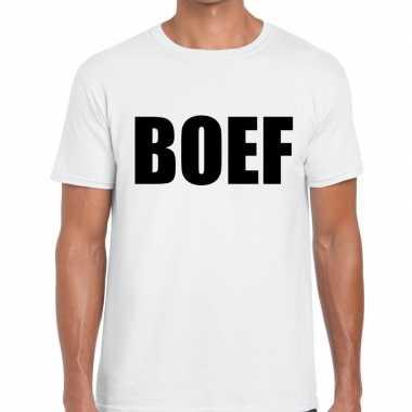 Foute boef tekst t shirt wit voor heren kleding