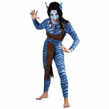 Foute carnaval blauwe jungle strijdster pak voor vrouwen kleding
