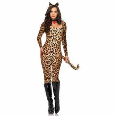 Foute carnaval luipaard catsuit met oortjes kleding