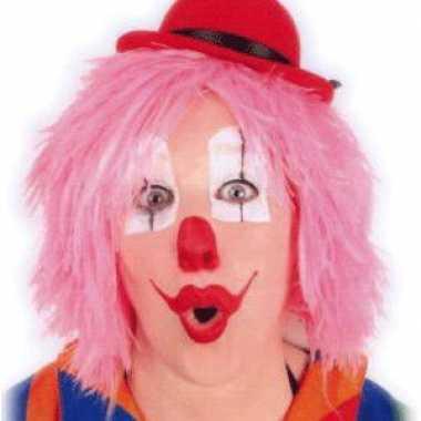 Foute clownspruiken in het roze kleding