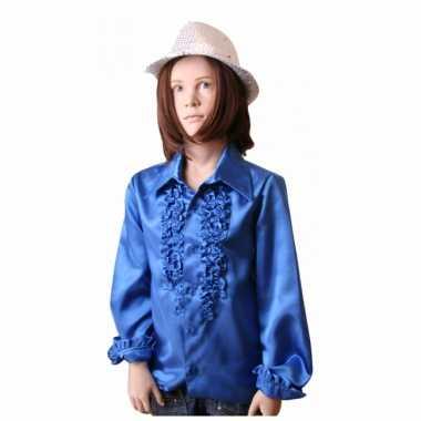 Foute disco shirt kobaltblauw voor meisjes kleding