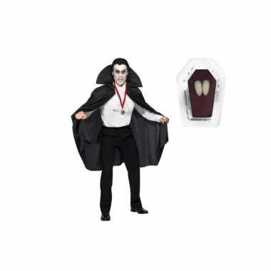 Foute dracula cape zwart inclusief hoektanden voor volwassen kleding